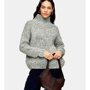 TOPSHOP NWT Mint Chunky Knit Funnel Neck Size 8-10